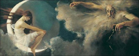 Arthur Loureiro Study for 'The spirit of the new moon' 1888 (detail)