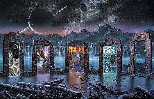 """""""Portals to Alternate Universes"""" by David A. Hardy at Science Photo Library"""